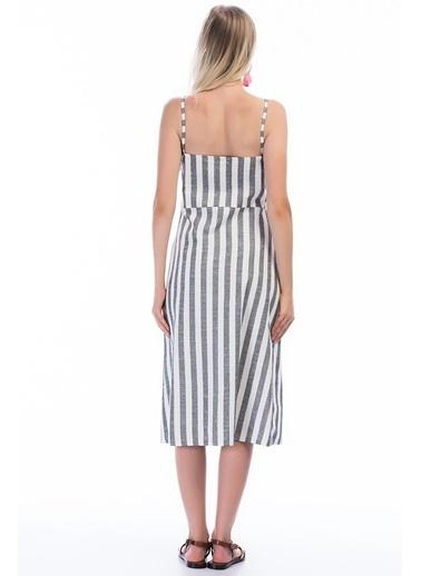 Cottonmood 8301245 Keten Kalın Çizgili Göğsü Bağlama Detaylı Elbise Siyah